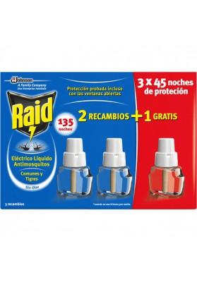 RAID ANTIMOSQUITOS RECAMBIO LÍQUIDO 45,  3 UNIDADES
