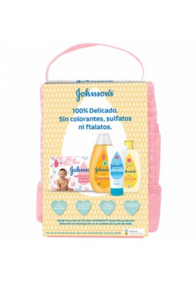JOHNSON'S MOCHILA BEBE ROSA 4 PRODUCTOS